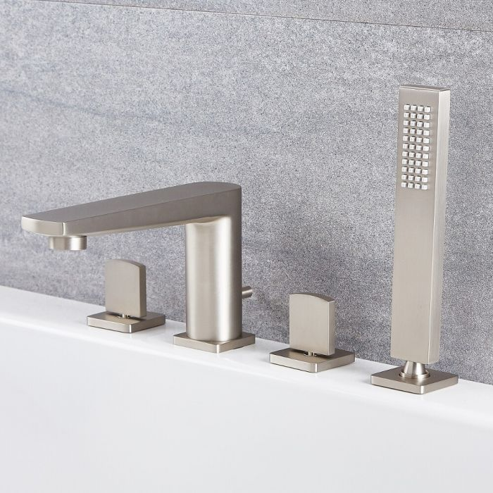 Arcadia - Brushed Nickel Roman Tub Faucet with Hand Shower