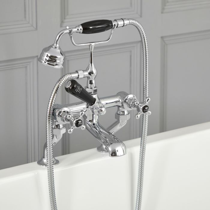Elizabeth - Traditional Deck Mounted Cross Handle Tub Faucet with Telephone Style Hand Shower - Multiple Finishes Available