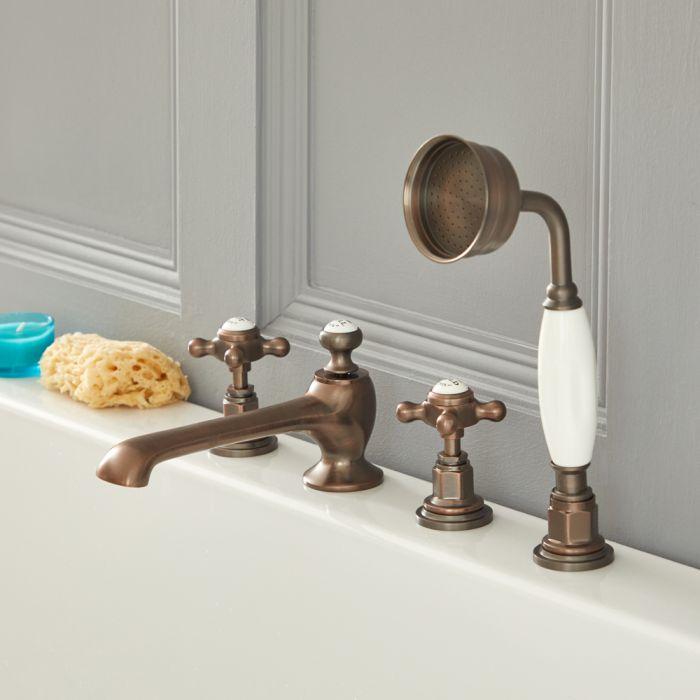 Elizabeth - Traditional Cross Handle Roman Tub Faucet - Multiple Finshes Available