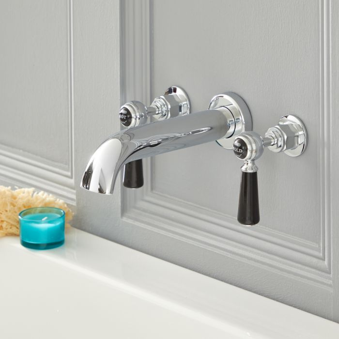 Elizabeth - Traditional Wall Mounted Lever Handle Widespread Tub Faucet - Multiple Finishes Available