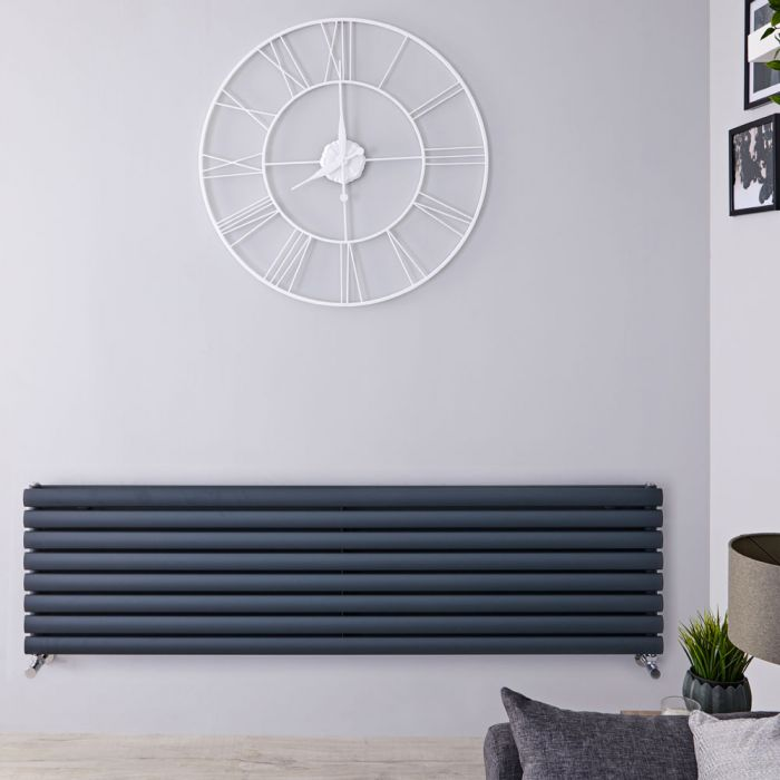 "Revive - Anthracite Horizontal Double-Panel Designer Radiator - 18.5"" x 63"""