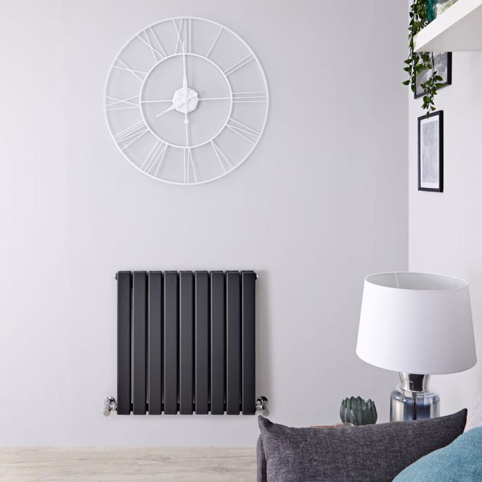 "Delta - Anthracite Horizontal Double Slim-Panel Designer Radiator - 25"" x 24.75"""