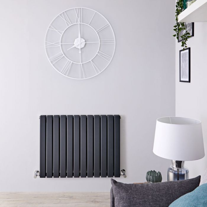 "Delta - Anthracite Horizontal Double Slim-Panel Designer Radiator - 25"" x 33"""