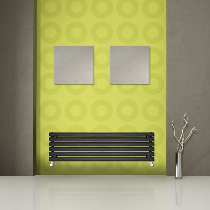 "Revive - Black Horizontal Single-Panel Designer Radiator - 14"" x 63"""