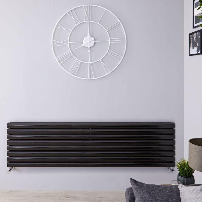 "Revive - Black Horizontal Double-Panel Designer Radiator - 18.5"" x 63"""