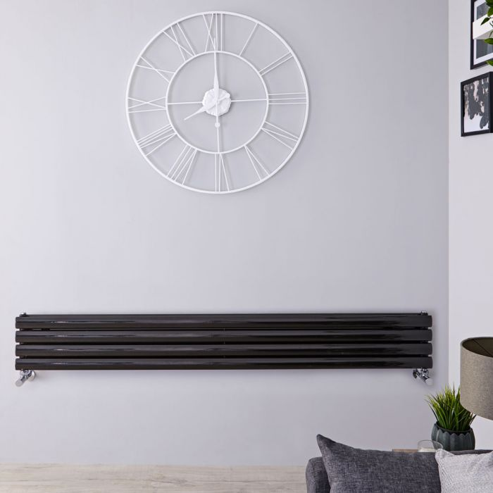 "Revive - Black Horizontal Double-Panel Designer Radiator - 9.25"" x 63"""