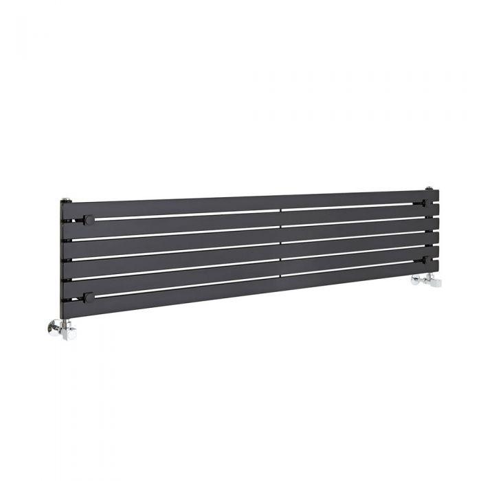 "Sloane - Black Horizontal Single Flat-Panel Designer Radiator - 14"" x 63"""