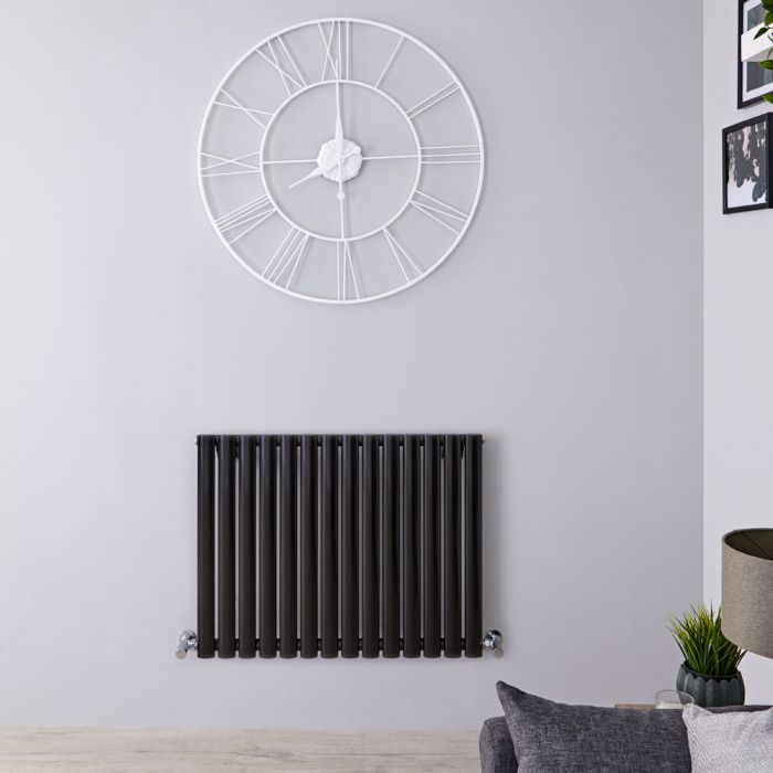 "Revive - Black Horizontal Single-Panel Designer Radiator - 25"" x 32.75"""