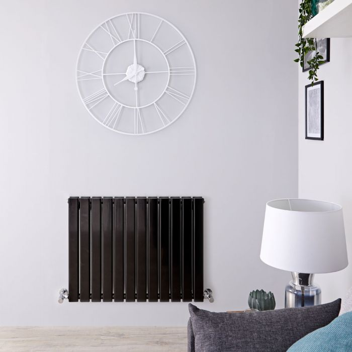 Delta - Black Horizontal Double Slim-Panel Designer Radiator - 25