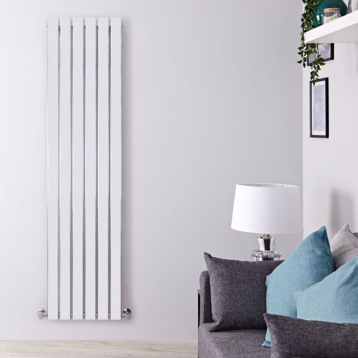 "Delta - Chrome Vertical Single Slim-Panel Designer Radiator - 63"" x 17.75"""