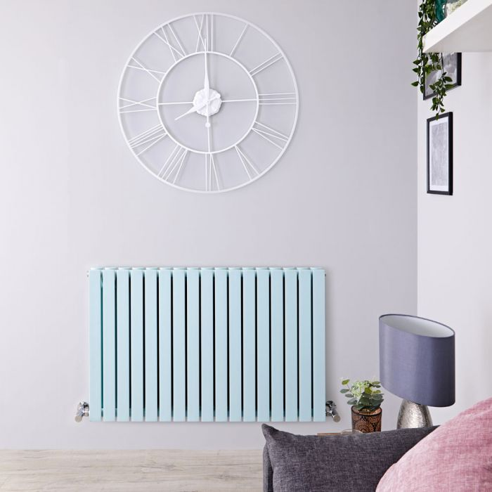 Sloane - Mint Green Double Flat Panel Horizontal Designer Radiator - 25