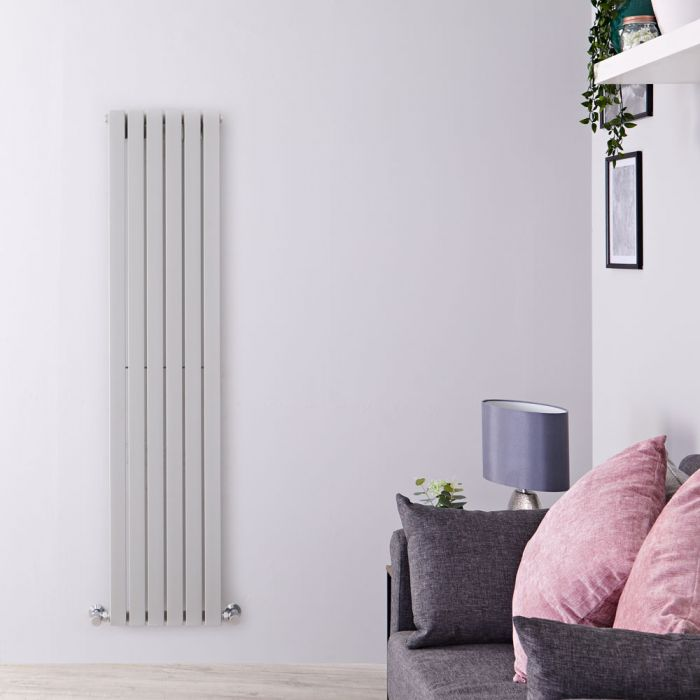 "Sloane - Silver Vertical Single Flat-Panel Designer Radiator - 63"" x 14"""