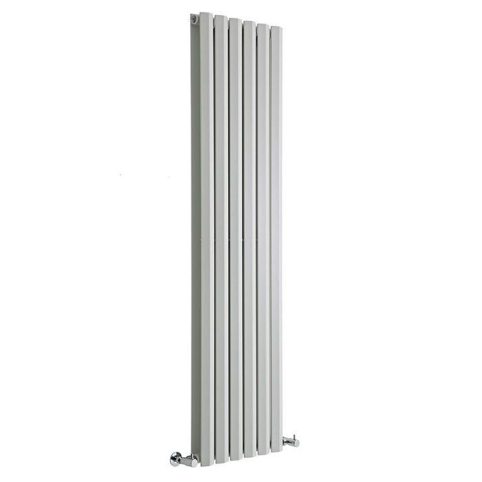 "Edifice - White Vertical Double-Panel Designer Radiator - 63"" x 16.5"""