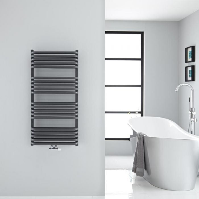 "Arch - Anthracite Hydronic Heated Towel Warmer - 39.25"" x 19.75"""