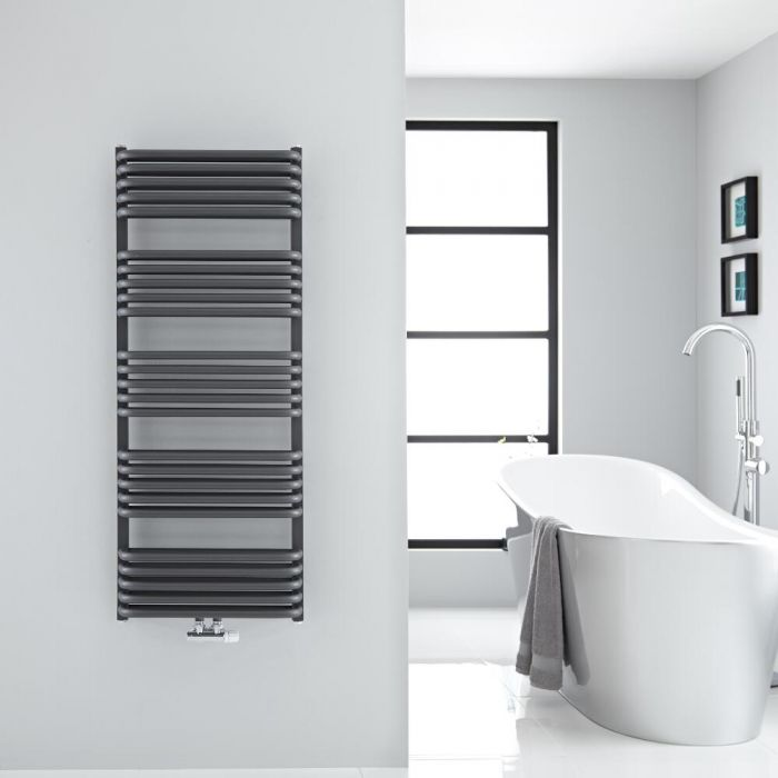"Arch - Anthracite Hydronic Heated Towel Warmer - 50"" x 19.75"""
