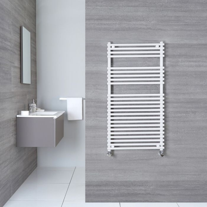 Ischia - Hydronic White Heated Towel Warmer - 45.25