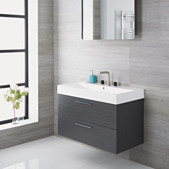 Langley - 35'' Gray Wall-Mount Bathroom Vanity
