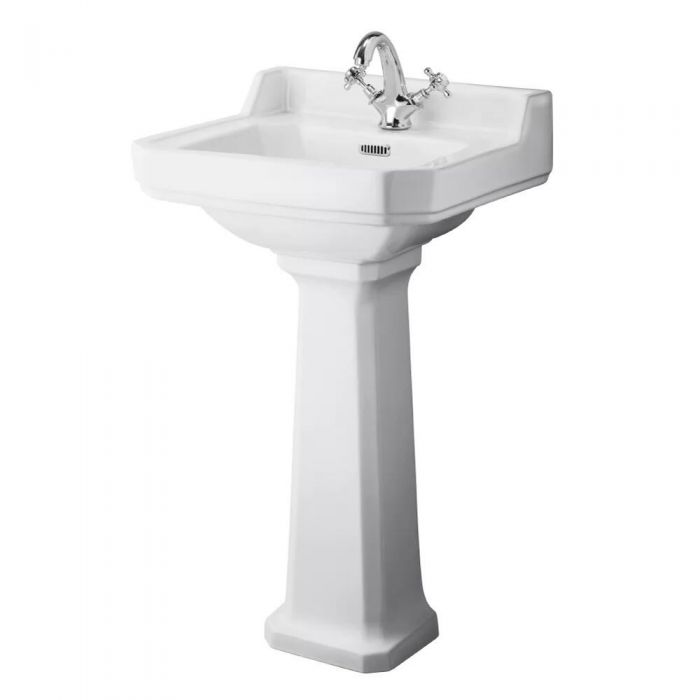 Traditional Carlton  Porcelain Sink and Pedestal 20""