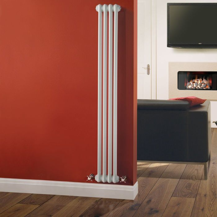 "Regent - White Vertical 2-Column Traditional Cast-Iron Style Radiator - 59"" x 8"""