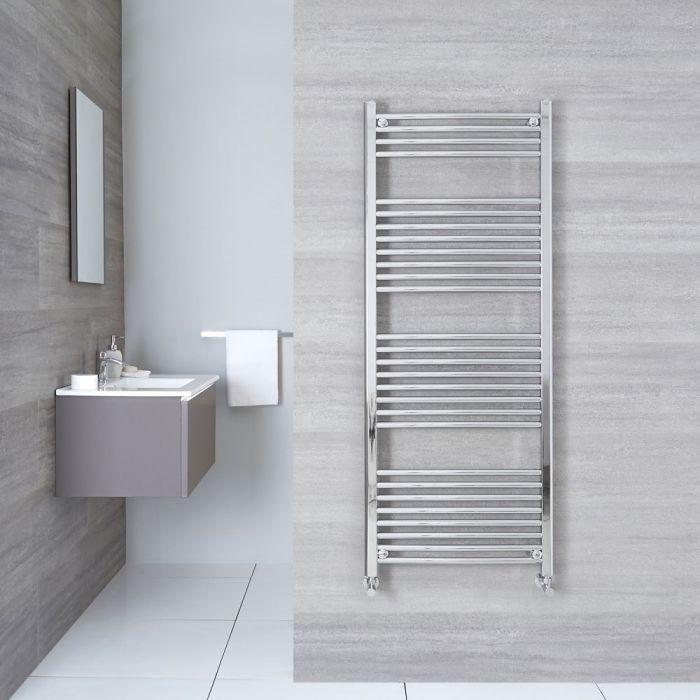 "Linosa - Hydronic Chrome Curved Heated Towel Warmer - 59"" x 19.75"""