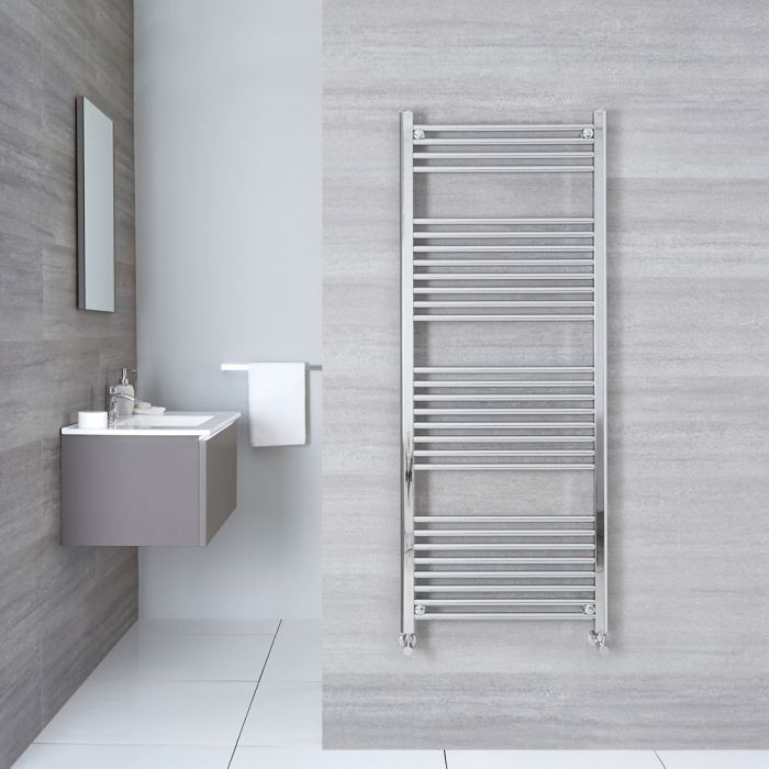 "Linosa - Hydronic Chrome Flat Heated Towel Warmer - 59"" x 19.75"""