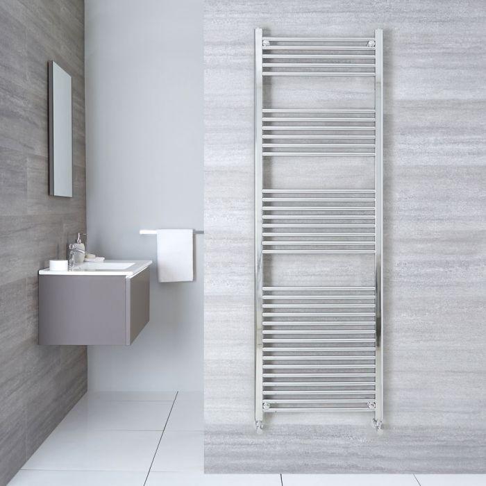 "Linosa - Hydronic Chrome Flat Heated Towel Warmer - 70.75"" x 19.75"""