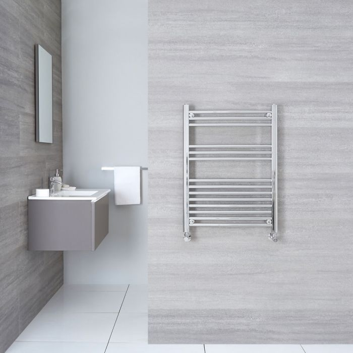 "Linosa - Hydronic Chrome Flat Heated Towel Warmer - 31.5"" x 23.5"""