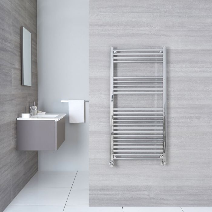 "Linosa - Hydronic Chrome Flat Heated Towel Warmer - 47.25"" x 23.5"""