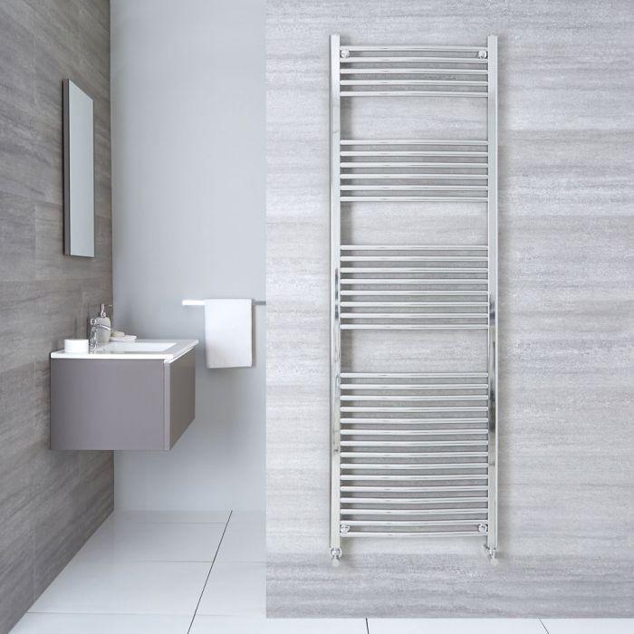 "Linosa - Hydronic Chrome Curved Heated Towel Warmer - 70.75"" x 23.5"""