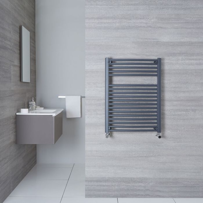 "Loa - Hydronic Anthracite Curved Heated Towel Warmer - 31.5"" x 23.5"""
