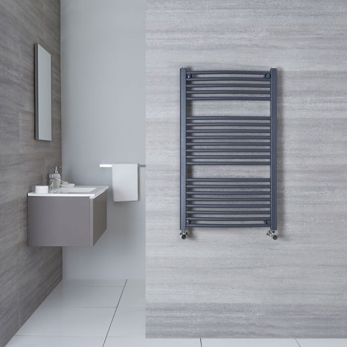 "Loa - Hydronic Anthracite Curved Heated Towel Warmer - 39.25"" x 23.5"""