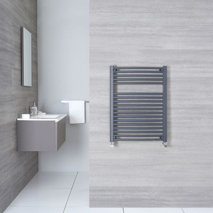 Loa - Hydronic Anthracite Flat Heated Towel Warmer - 31.5