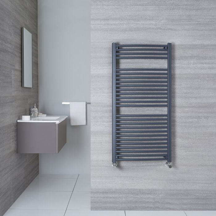 """Loa - Hydronic Anthracite Curved Heated Towel Warmer - 47.25"""" x 19.75"""""""