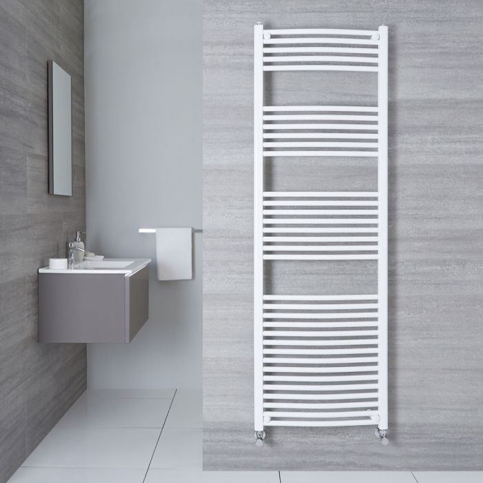 "Etna - Hydronic White Curved Heated Towel Warmer - 70.75"" x 23.5"""