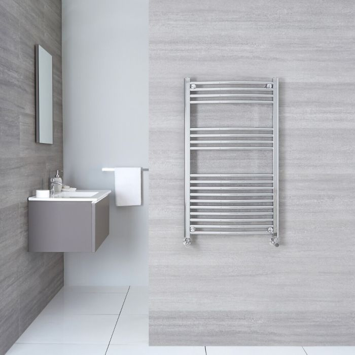 """Etna - Hydronic Chrome Curved Heated Towel Warmer - 39.25"""" x 19.75"""""""
