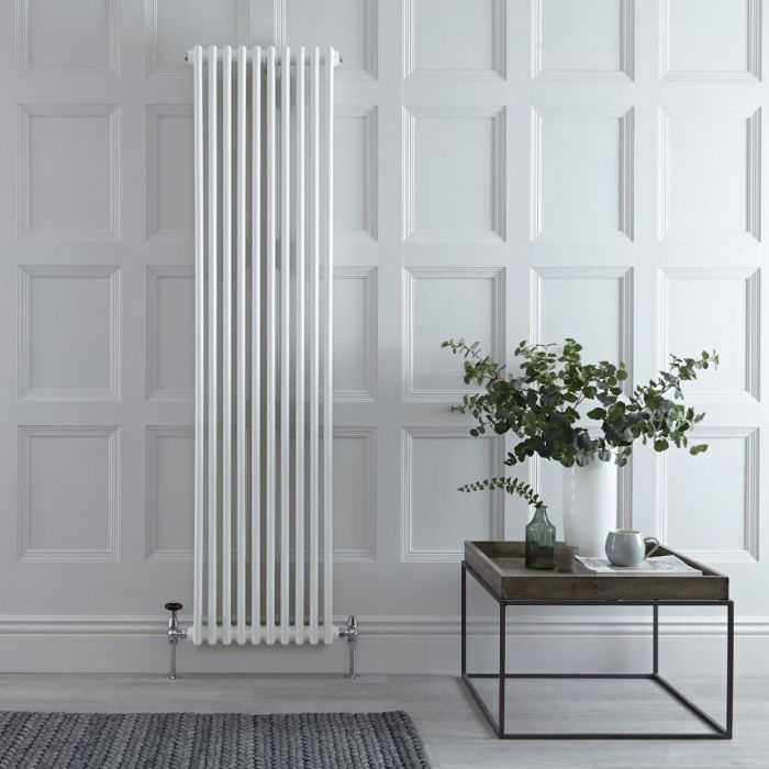 Regent - White Vertical 2-Column Traditional Cast-Iron Style Radiator - 70.75