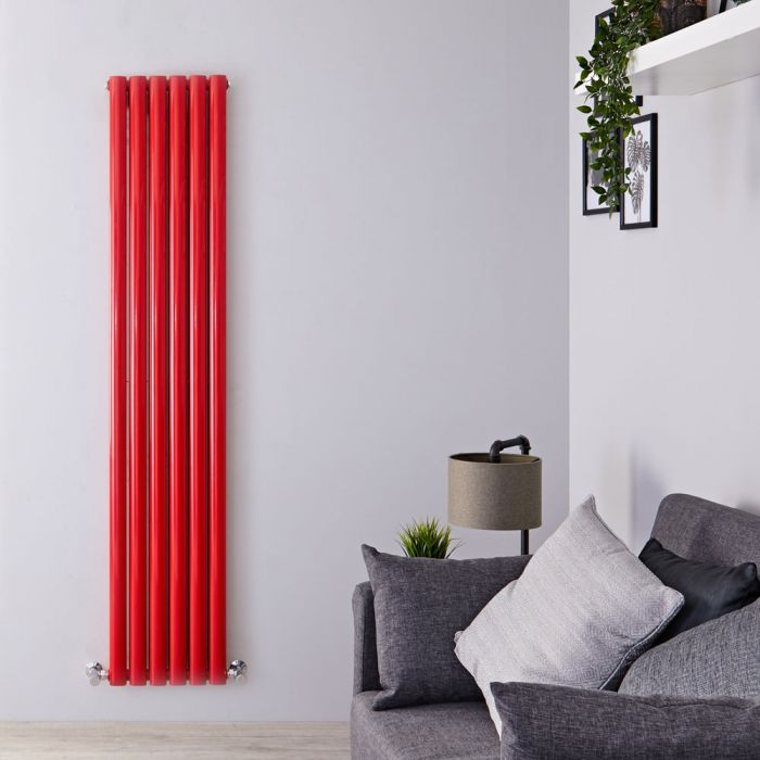 Revive - Red Vertical Double-Panel Designer Radiator - 70.75