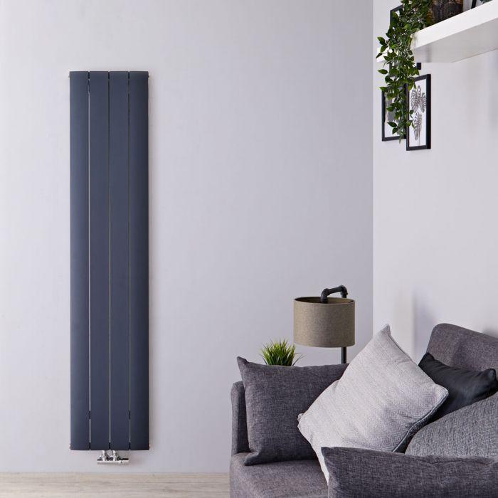 """Aurora - Anthracite Aluminum Vertical Designer Radiator - 70.75"""" x 14.75"""""""