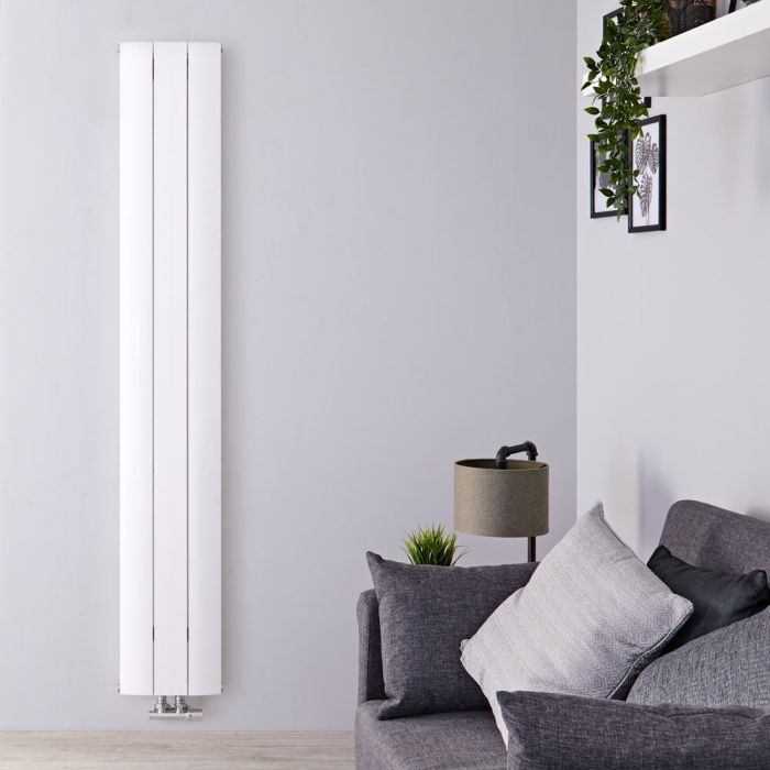 """Aurora - White Aluminum Vertical Designer Radiator - 70.75"""" x 11"""""""