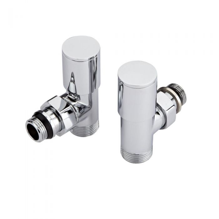 Hudson Reed Round Chrome Manual Angled Radiator Valves (Pair)