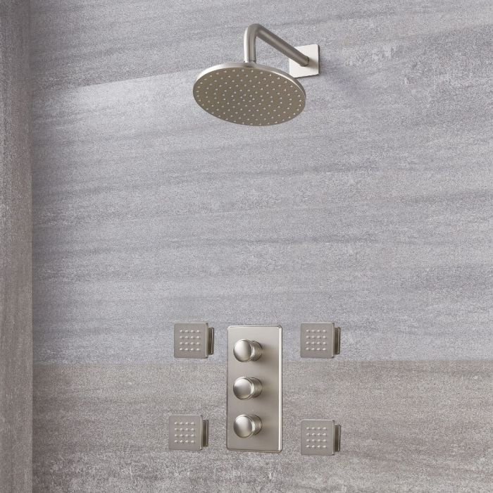 """Eclipse Thermostatic Brushed Nickel Shower System with 8"""" Shower Head and 4 Body Sprays"""