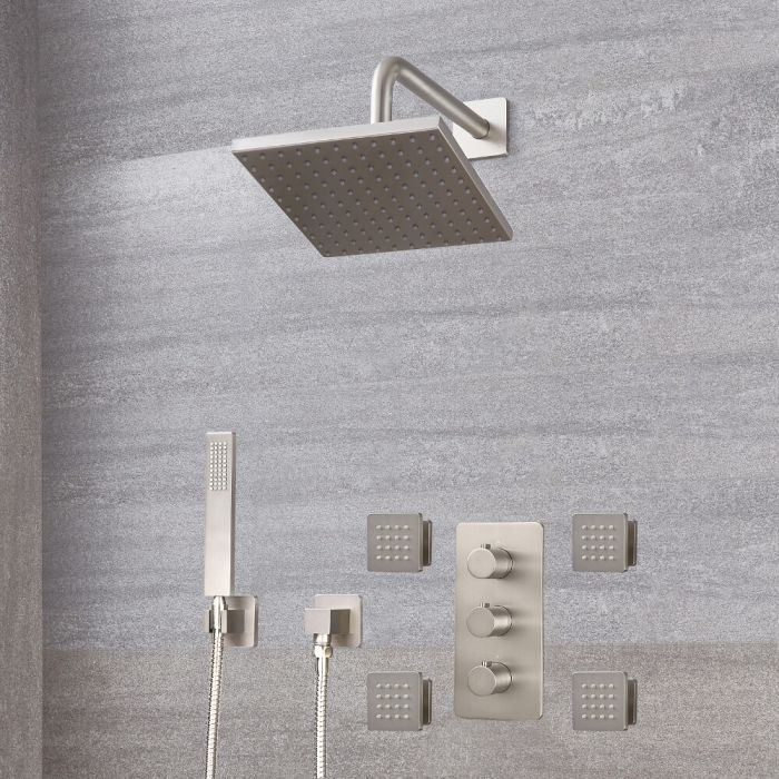 """Arcadia Thermostatic Brushed Nickel Shower System with 8"""" Shower Head, Handshower and 4 Body Sprays"""