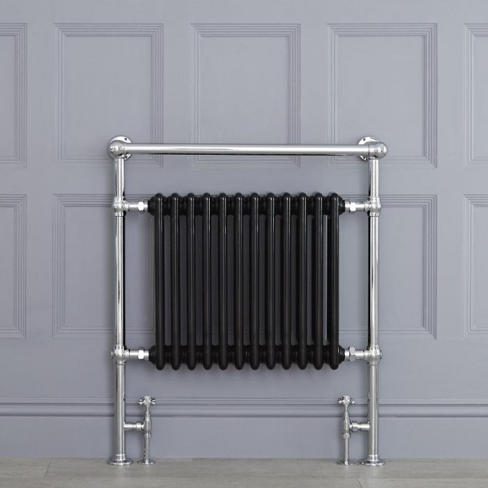 "Marquis - Black Traditional Heated Towel Warmer with Shelf - 36.75"" x 31.25"""