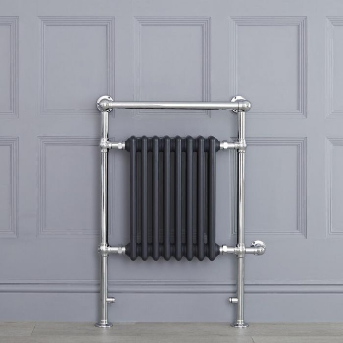 "Marquis Electric  - Anthracite Traditional Heated Towel Warmer with Shelf - 36.75"" x 24.5"""
