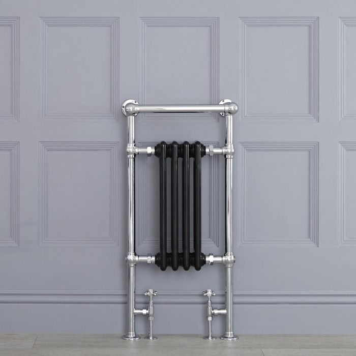 "Marquis - Black Traditional Heated Towel Warmer with Shelf  - 36.75"" x 17.75"""