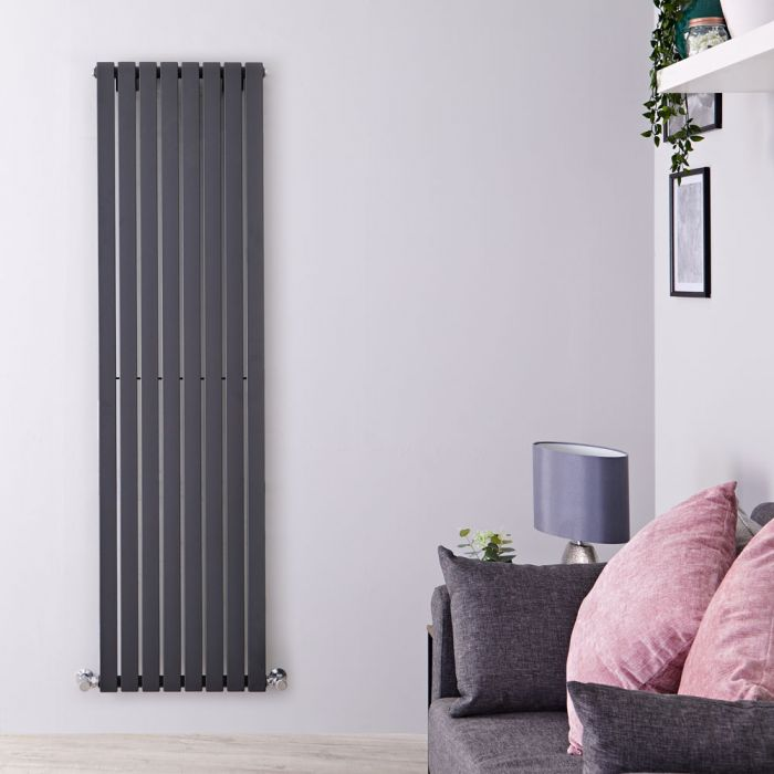 Sloane - Anthracite Vertical Single Flat-Panel Designer Radiator - 70