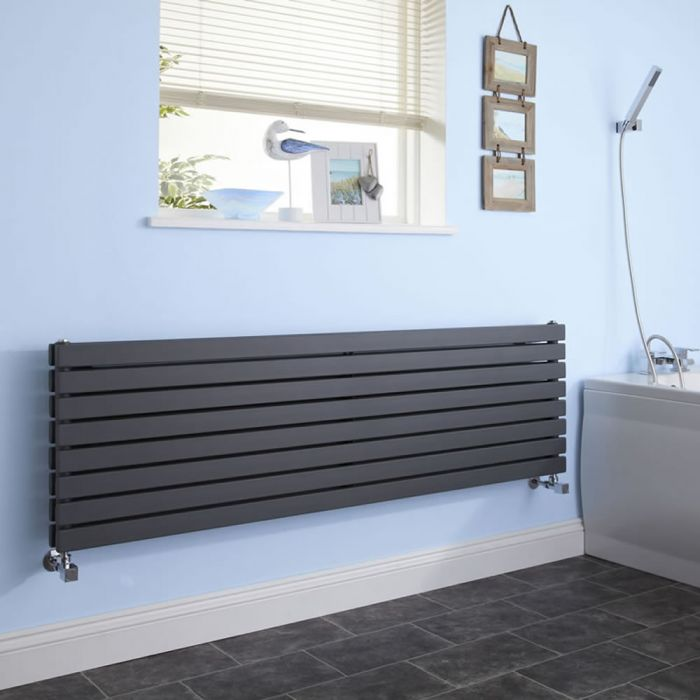 Sloane - Anthracite Horizontal Double Flat-Panel Designer Radiator - 18.5