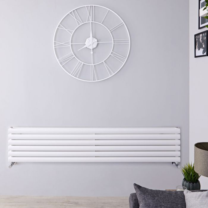 "Revive - White Horizontal Double-Panel Designer Radiator - 14"" x 70"""