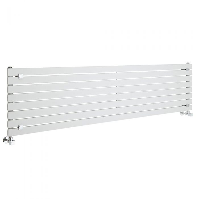 "Sloane - White Horizontal Single Flat-Panel Designer Radiator - 18.5"" x 70"""