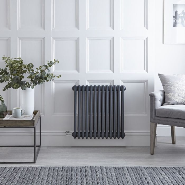 "Regent Electric - Anthracite Horizontal 3-Column Traditional Cast-Iron Style Radiator - 23.5"" x 23"""